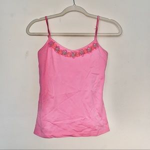 Lilly Pulitzer Pink Floral Neckline Cami Tank Sz S